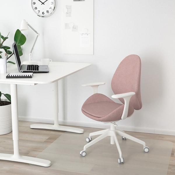 HATTEFJÄLL Bureaustoel met armleuningen, Gunnared oudroze/wit