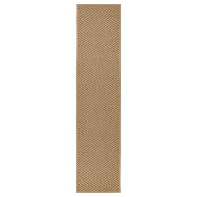HELLESTED Vloerkleed, glad geweven, naturel/bruin, 80x350 cm