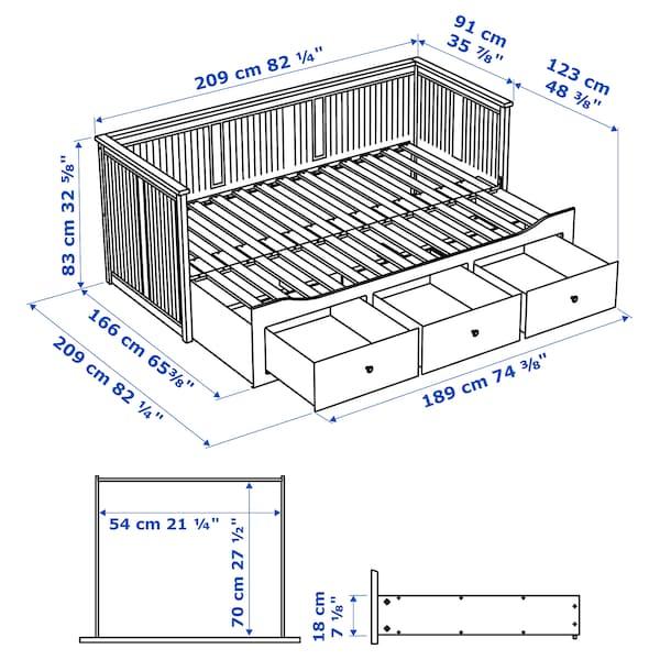 HEMNES Bedbank met 3 lades/2 matrassen, wit/Husvika stevig, 80x200 cm