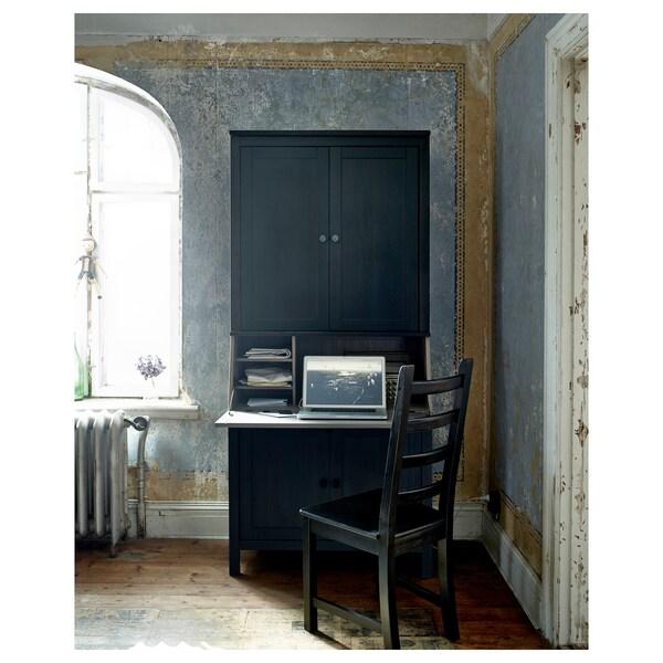 HEMNES secretaire met opbouwdeel zwartbruin 89 cm 46 cm 198 cm