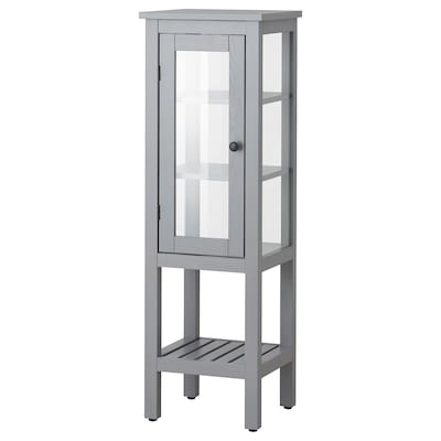 HEMNES Hoge kast met glazen deur, grijs, 42x38x131 cm