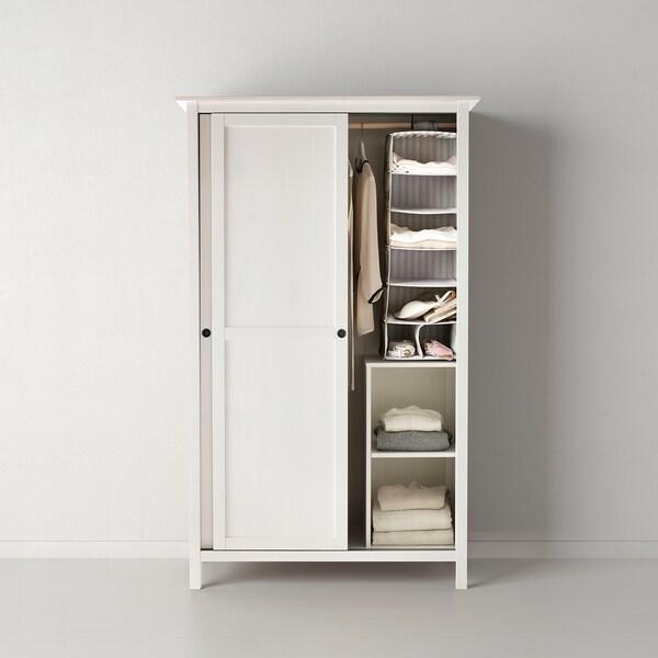 HEMNES Kledingkast 2 schuifdeuren, wit gebeitst, 120x197 cm
