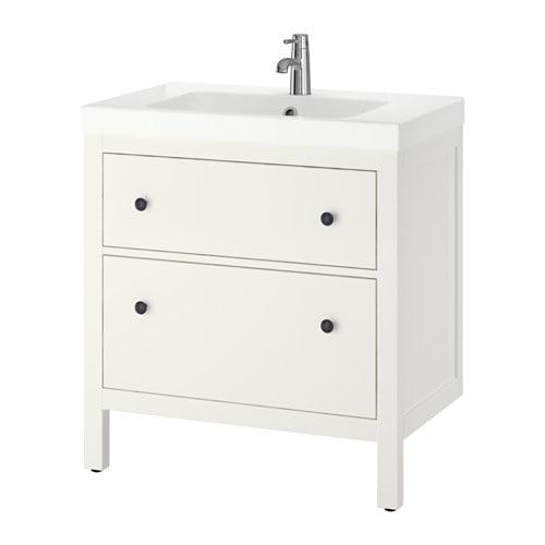 Hemnes odensvik kast voor wastafel met 2 lades ikea for Ikea waschtisch