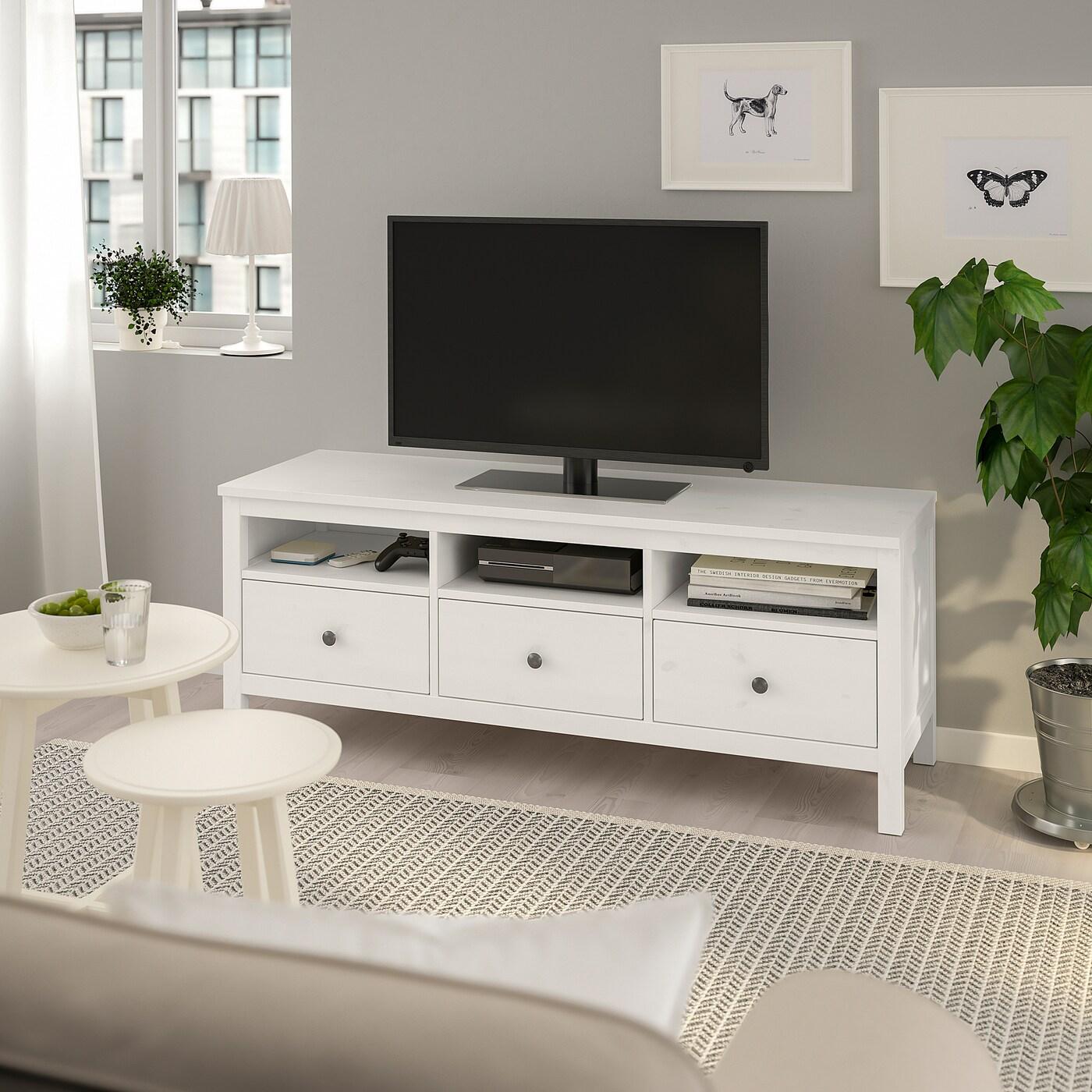 Hemnes Tv Meubel Zwart.Hemnes Tv Meubel Wit Gebeitst 148x47x57 Cm Ikea