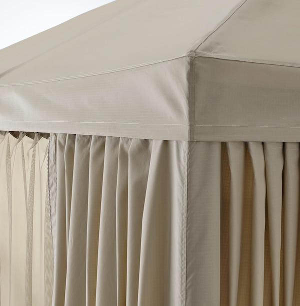 HIMMELSÖ Partytent met gordijnen en net, donkergrijs/grijsbeige