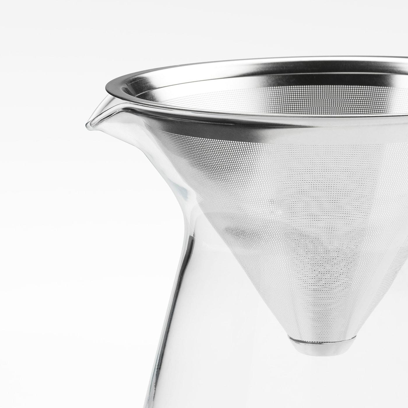 HÖGMODIG Koffiekan met filter, helder glas/roestvrij staal, 0.6 l