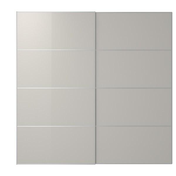 HOKKSUND Schuifdeur, set van 2, hoogglans lichtgrijs, 200x201 cm