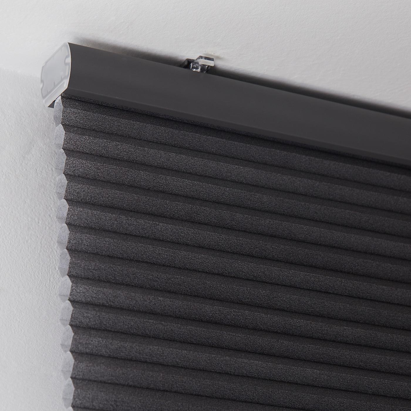 HOPPVALS plisségordijn, dubbel grijs 210 cm 100 cm 2.10 m²