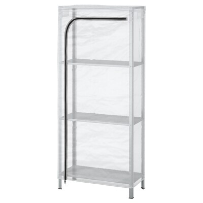 HYLLIS Open kast met overtrek, transparant, 60x27x140 cm