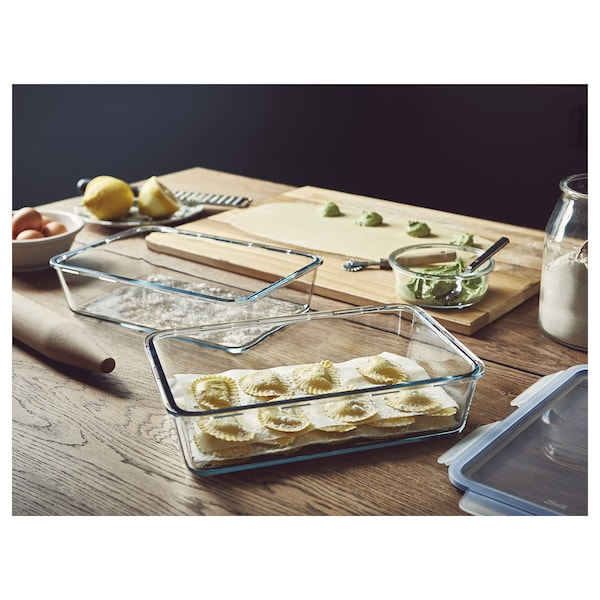 IKEA 365+ Voorraadpot, groot rechthoekig/glas, 3.1 l