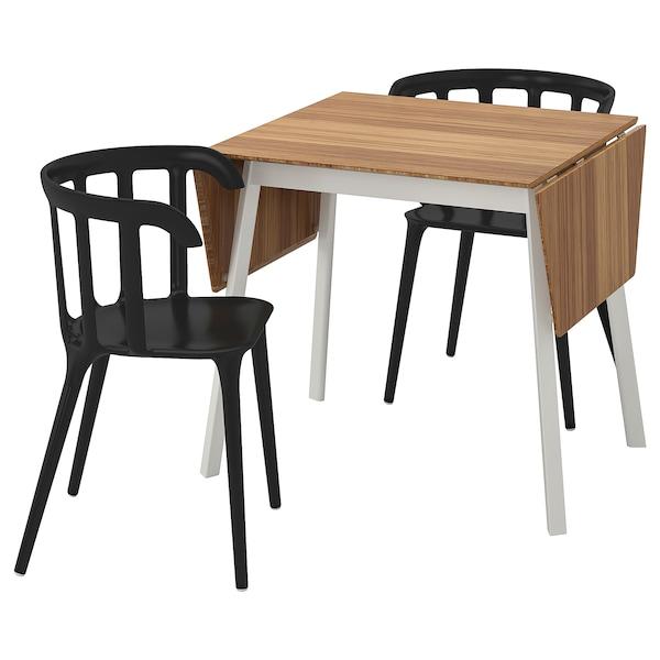 IKEA PS 2012 / IKEA PS 2012 Tafel met 2 stoelen, bamboe/zwart, 74 cm