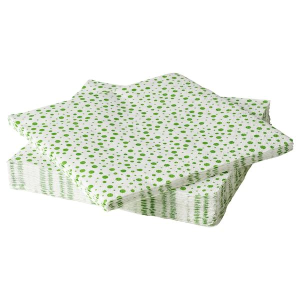 INBJUDEN Papieren servet, wit/groen, 33x33 cm