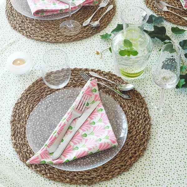 INBJUDEN Servet, wit/roze, 45x45 cm