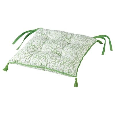 INBJUDEN Stoelkussen, wit/groen, 40x40x6.0 cm