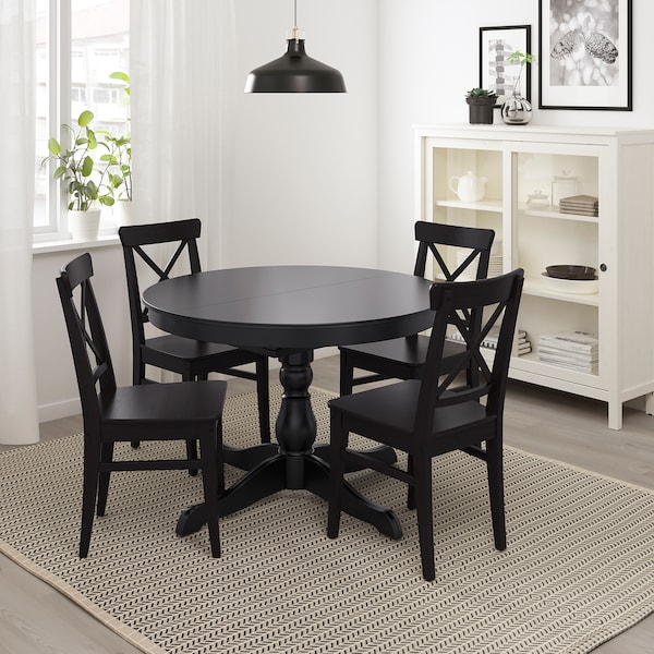 INGATORP uitschuifbare tafel zwart 155 cm 74 cm 110 cm