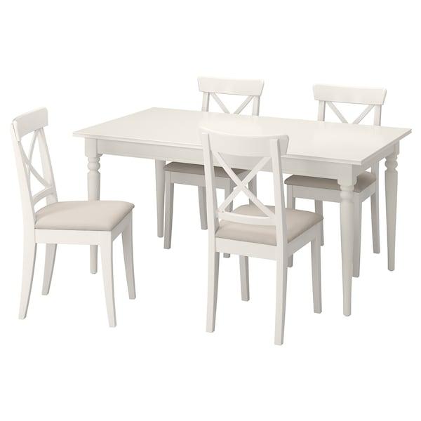 INGATORP / INGOLF Tafel en 4 stoelen, wit/Hallarp beige, 155/215 cm