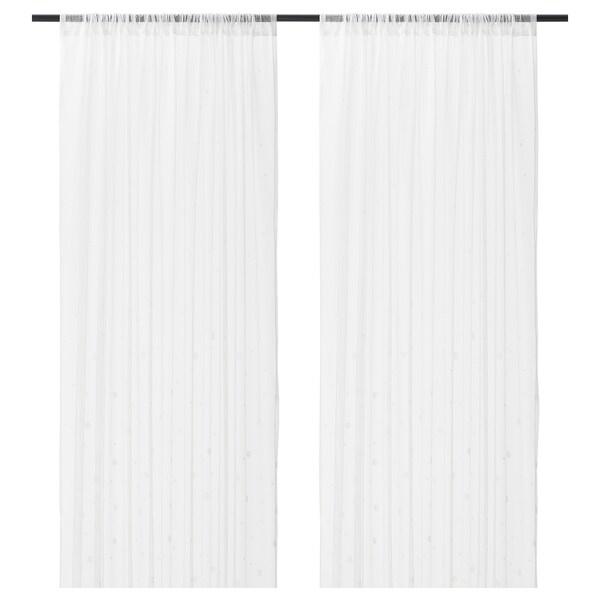 IRMALI vitragegordijnen, 1 paar wit stippen 300 cm 145 cm