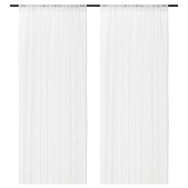 IRMALI Vitragegordijnen, 1 paar, wit stippen, 145x300 cm