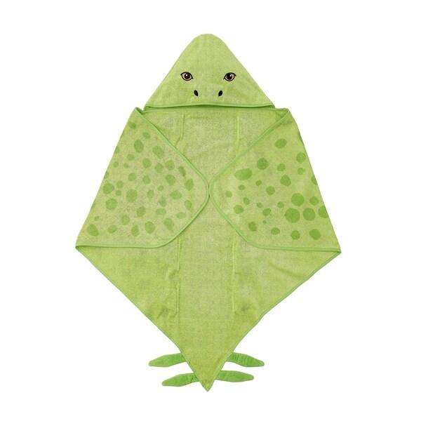 JÄTTELIK Handdoek met capuchon, dinosaurus/stegosaurus/groen, 140x97 cm