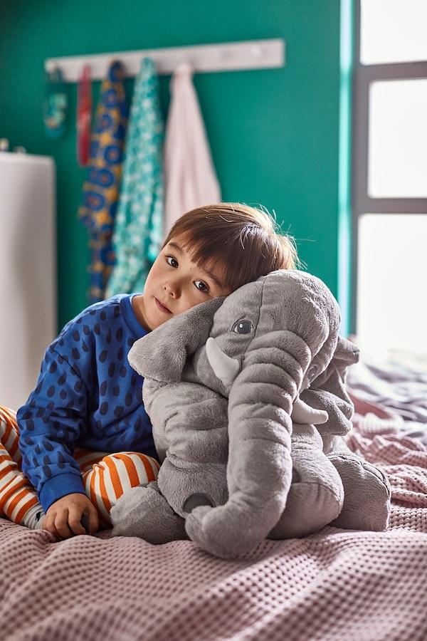 JÄTTESTOR Pluchen speelgoed, olifant/grijs