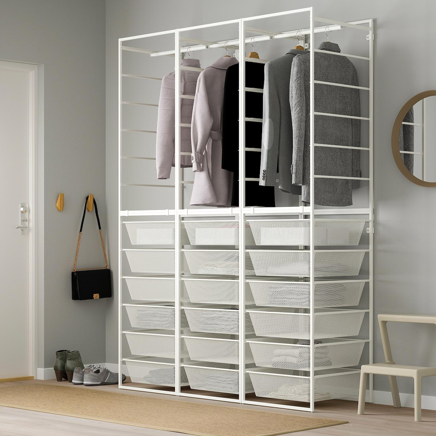 JONAXEL Mandhouder/fijndraadmand/kledingroe, wit, 148x51x207 cm