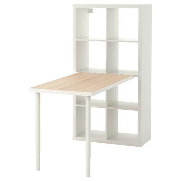 KALLAX tafelcombinatie wit gelazuurd eikeneffect/wit 77 cm 159 cm 147 cm