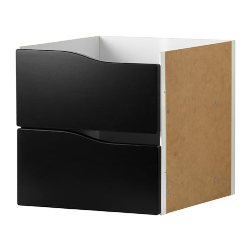 kallax inzet met 2 lades zwart ikea. Black Bedroom Furniture Sets. Home Design Ideas