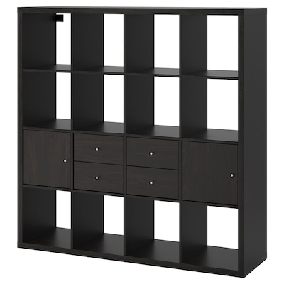 KALLAX Open kast met 4 inzetten, zwartbruin, 147x147 cm