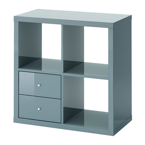 kallax open kast met lades hoogglans grijsturkoois ikea. Black Bedroom Furniture Sets. Home Design Ideas