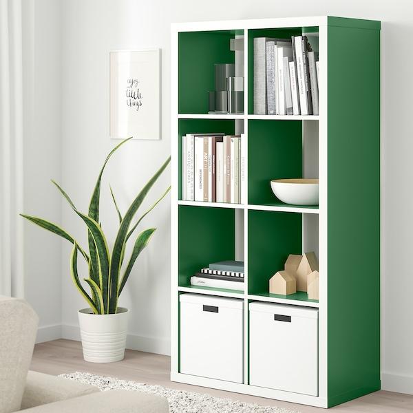 KALLAX Open kast, wit/groen, 77x147 cm