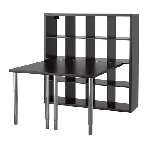 kallax tafelcombinatie zwartbruin ikea. Black Bedroom Furniture Sets. Home Design Ideas