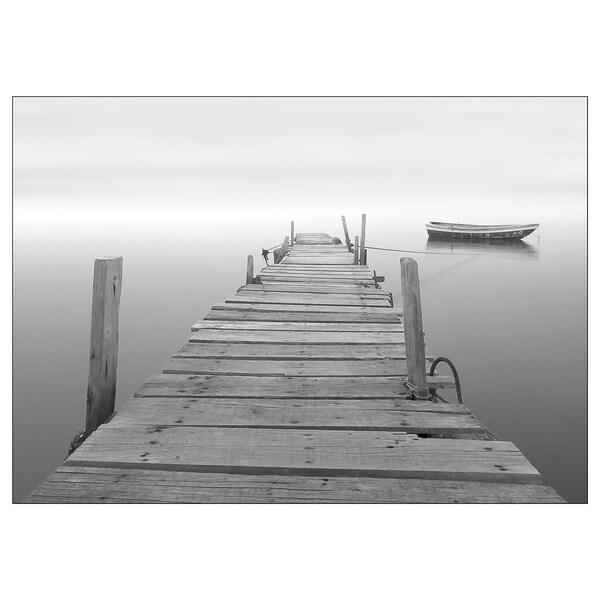 KATEBO afbeelding zonder lijst Boot aan houten steiger/polystyreen 70 cm 50 cm