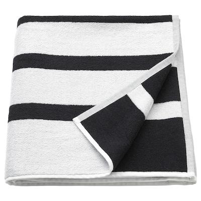KINNEN Badhanddoek, wit/zwart, 70x140 cm