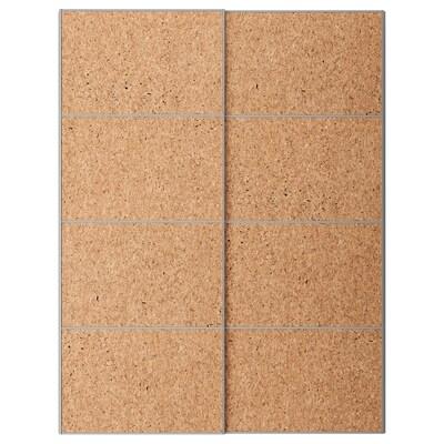 KIRKENES Schuifdeur, set van 2, kurkfineer, 150x201 cm