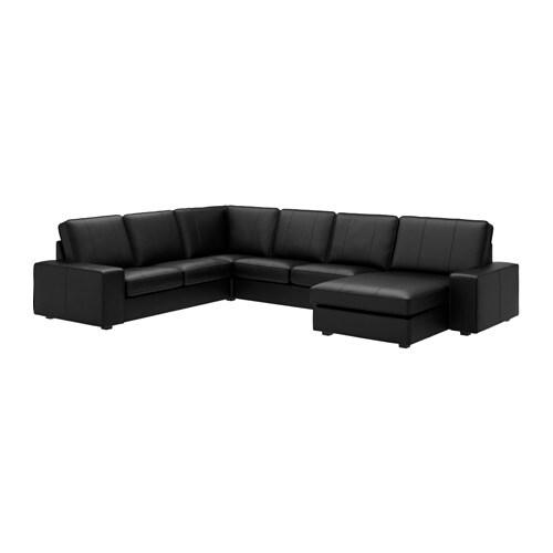 Kivik hoekbank 2 2 met chaise longue grann bomstad zwart for Chaise longue nl