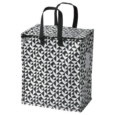 KNALLA Boodschappentas, zwart/wit, 40x25x47 cm/47 l