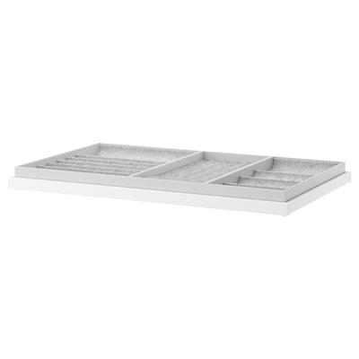 KOMPLEMENT Uittrekbare plank met inzet, wit, 100x58 cm