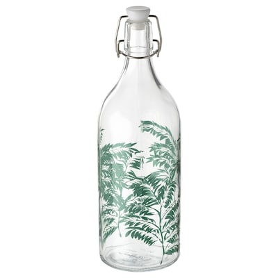 KORKEN fles met beugelsluiting helder glas/met een patroon 29 cm 9 cm 1 l