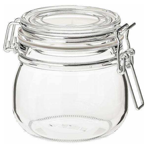 KORKEN Voorraadpot met deksel, helder glas, 0.5 l