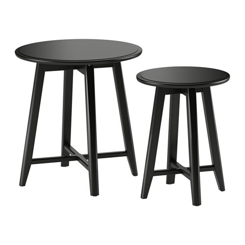 kragsta bijzettafel set van 2 zwart ikea. Black Bedroom Furniture Sets. Home Design Ideas
