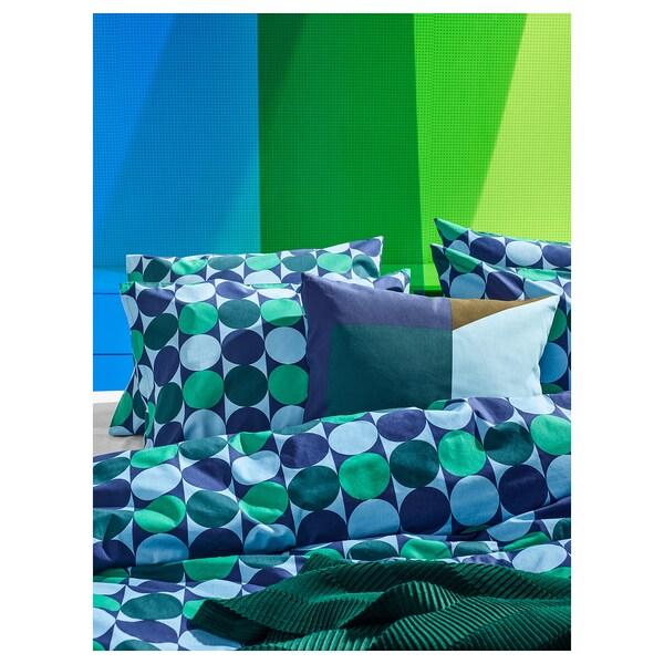 KROKUSLILJA dekbedovertrek met 2 slopen blauw/groen 152 inch² 2 st. 200 cm 200 cm 60 cm 70 cm