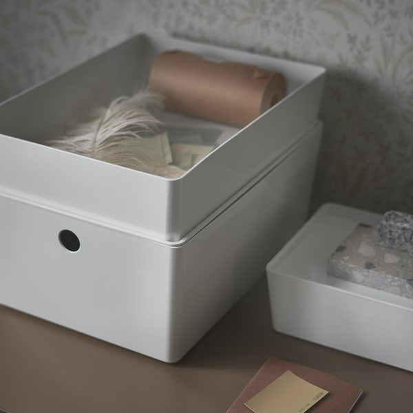 KUGGIS Bak met deksel, wit, 26x35x8 cm