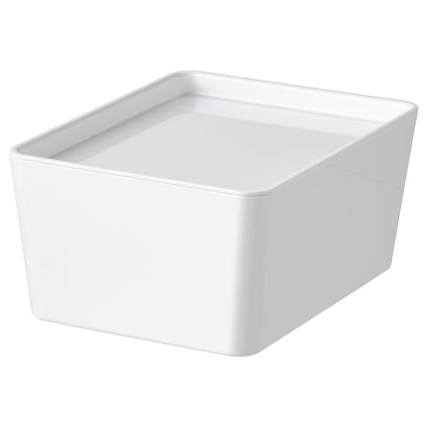 KUGGIS Bak met deksel, wit, 13x18x8 cm
