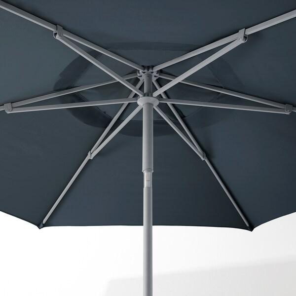 KUGGÖ / LINDÖJA Parasol met voet, blauw/Grytö donkergrijs, 300 cm