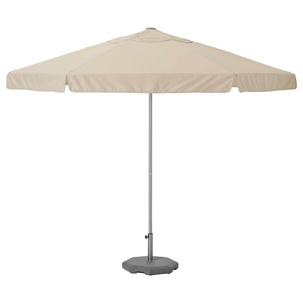 KUGGÖ / VÅRHOLMEN Parasol met voet, grijs beige/Huvön donkergrijs, 300 cm