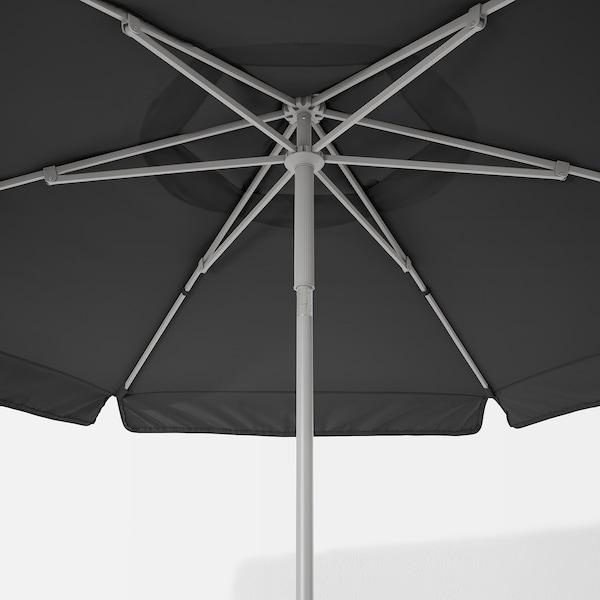KUGGÖ / VÅRHOLMEN Parasol met voet, grijs donkergrijs/Grytö donkergrijs, 300 cm