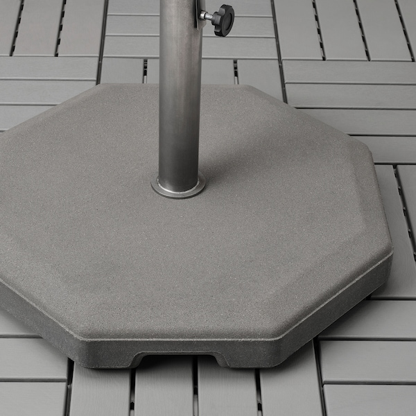 KUGGÖ / VÅRHOLMEN Parasol met voet, grijs donkergrijs/Huvön donkergrijs, 300 cm
