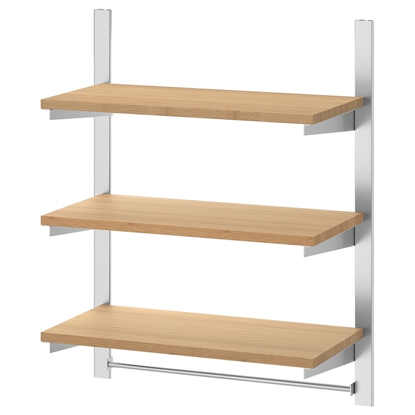 KUNGSFORS Ophangrail met planken en stang, roestvrij staal/bamboe