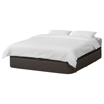 KVITSÖY Gestoffeerd bed met opberger, Bomstad donkerbruin, 140x200 cm