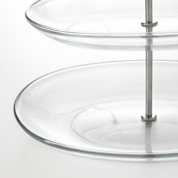 KVITTERA etagère, 3 niveaus helder glas/roestvrij staal 31 cm 27 cm 34 cm